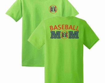 Baseball Mom Chevron Monogrammed T-shirt