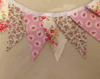 Beautiful Cotton Double Sided Bunting - Pink Floral Rose Vintage Style