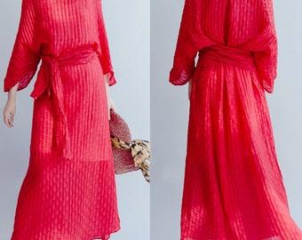women red dress/women black  linen dress/women long dress/women fashion dress/women comfortable dress/QZ04BJD1528