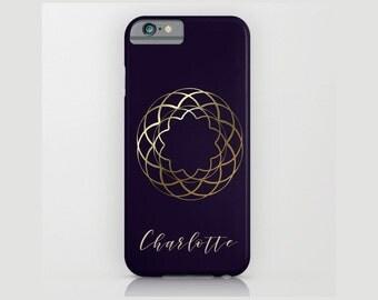 Custom Device case for iPhone / Samsung Galaxy, iPhone 7 /7s, iPhone 6 /6s, Samsung, Galaxy, Phone, Gold, Rosette, Blue, Custom, Name, Gift
