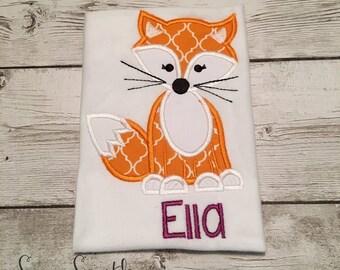 Girl Fox Applique Design ~ Red Fox ~ Instant Download