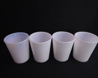 Vintage Opalescent Milk Glass Juice Glasses or Tumblers set of Four (4)