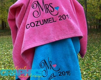 His and Hers Beach Towels - EXTRA LARGE Mr. and Mrs. Beach towel set of two - Couples Monogrammed Beach Towels - Honeymoon towels