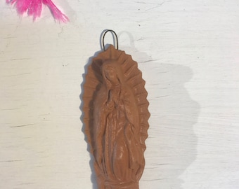 Handmade Clay Virgin Mary of Guadalupe. Acatlan Mexico