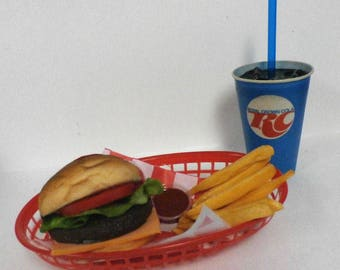 fake food car hop diner cheeseburger basket with an original RCcola cup