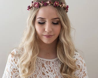 Burgundy Flower Crown- Marsala Wedding Crown- Burgundy Bridesmaid- Fall Wedding Headpiece- Burgundy Floral Crown- Boho Flower Crown- Autumn