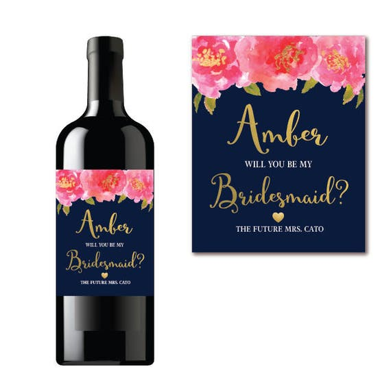 Will You Be My Bridesmaid Wine Label Proposal Navy Floral Pink - Bridesmaid wine label template