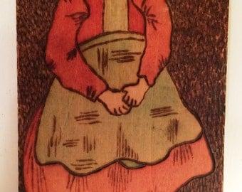 Vintage Primitive  wood burned plaque  Dutch Girl