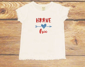 Fourth of July Shirt Girls Independence Day Top Brave Free Sparkle Glitter Red White Blue Baby Girl First 4th of July Outfit Toddler Girl