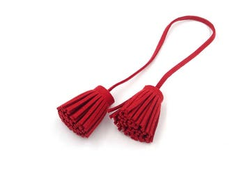 Tassels - Decorative Tassels - 4 Deep Red Cords with Attached Tassel Ends - Tassel Embellishments - Purse Tassel - Cell Phone Decor - TD-A07