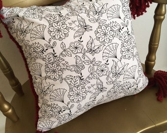 coloring book pillow red pillow knit pillow - Coloring Book Yarns