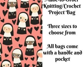 Knitting Project Bag, Nuns in Pink, Sock Knitting, Zippered Bag, Crochet Bag, Sweater Project Bag, Large Bag