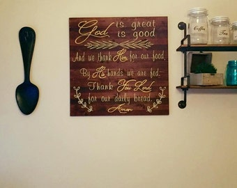 God is Good, God is Great Table Blessing painted wood sign