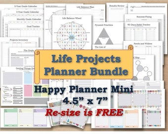 Happy planner mini inserts printable pages mambi agenda refill _ Any re-size is FREE!