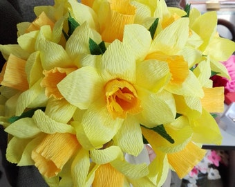 Wedding bouquet/ Paper flower/ Centerpiece table decor/ Bridal bouquet/ Daffodil paper flower, Mother's day, Daffodil spring paper bouquet