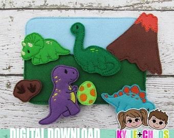 Dinosaur Felt Playset ITH Embroidery Design