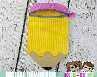 Pencil Zippered Pouch ITH Embroidery Design