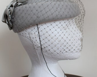 Grey Felt Hat with Veil by Kates Boutique