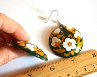 modern art jewelry green Dangling Earrings flowers Earrings nature floral jewelry wedding gift|for|women jewelry|for|mom green earrings boho
