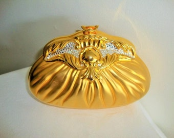 Clutch Purse Clam Shell Evening Purse Bag Opulent Gold Gilt Metal and Rhinestone Wedding New Years Xmas