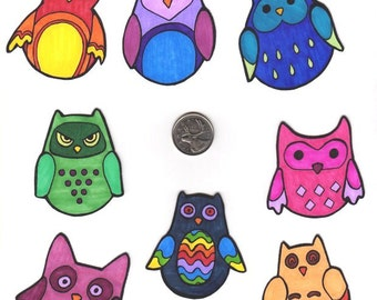 Colourful Owl Stickers