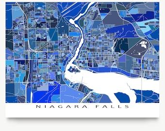 Niagara Falls Map Print, Niagara Falls Art Waterfalls, New York State, Ontario Canada