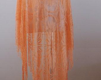 Peach Crochet/Burnout Vintage 70's Hippie Boho Shawl/Wrap C-101