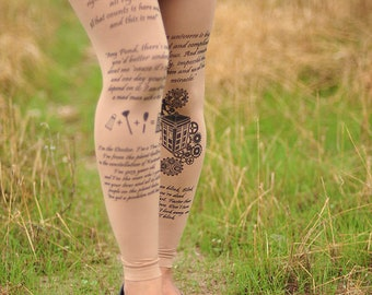 Doctor Who - Quotes and symbols - Womens Clothing - Tights - Printed Tights - Text