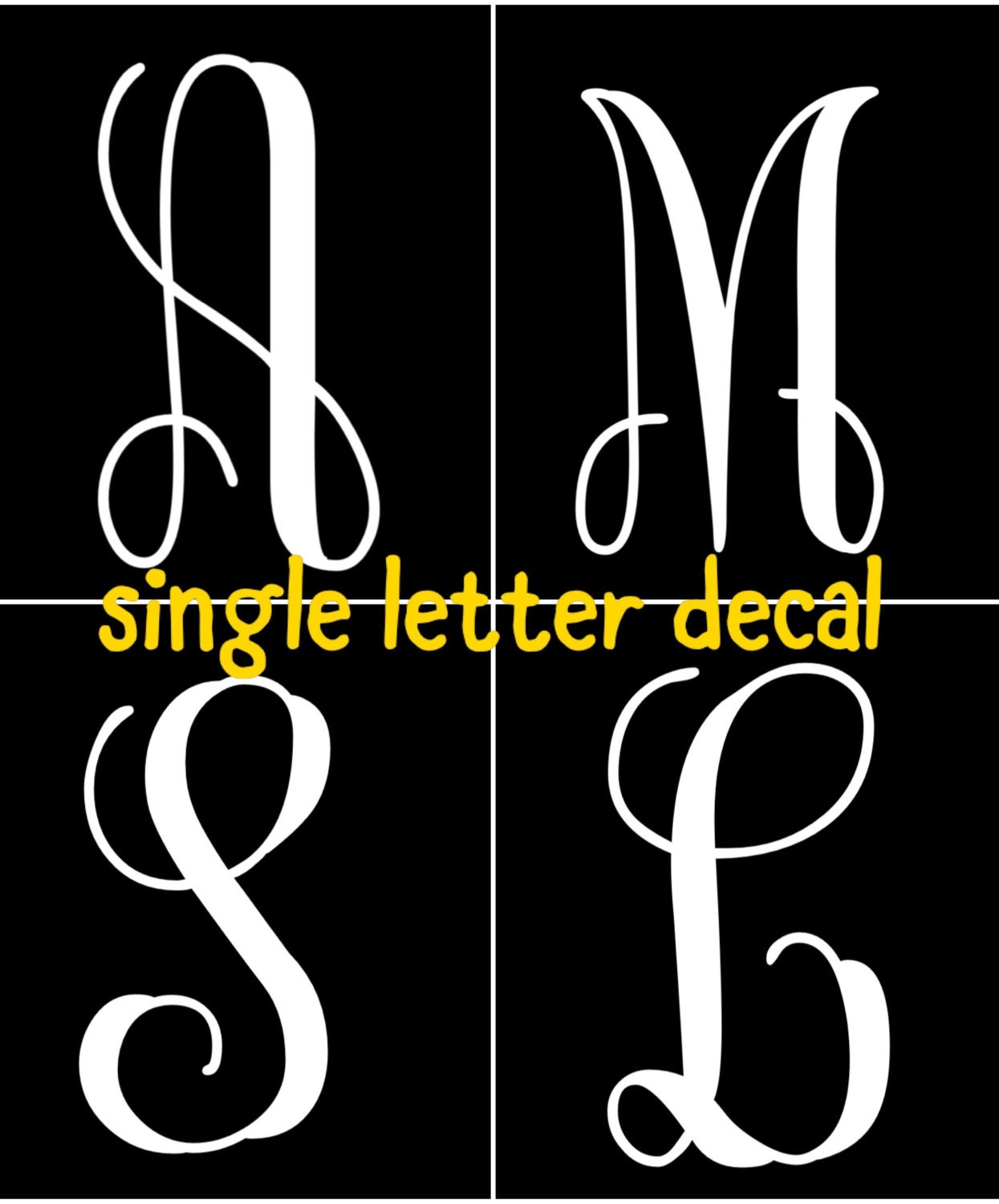 Glitter letter decals for yeti cups tumblers mugs for Letter decals for cups
