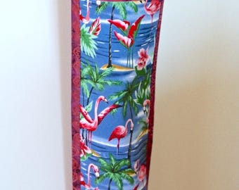 Flamingoes Plastic bag holder -  Grocery bag keeper - Plastic bag storage - Handmade plastic bag dispenser - Plastic bag organiser.