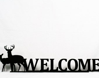 Metal Standing Deer Welcome Sign, Cabin Welcome Sign, Deer Hunting Lodge Decor, Woodland Cabin Decor, Camp Welcome Sign