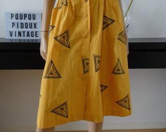 jupe vintage TED LAPIDUS jaune imprimé noir taille 38/ uk 10 / us 6
