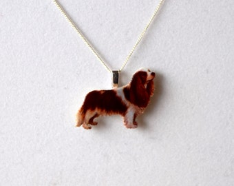 King Charles Cavalier Spaniel Fine Detail Sterling Silver 925 Necklace