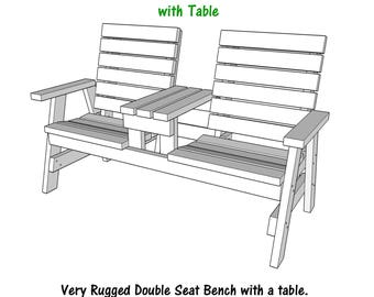 Double Seat Bench With Table - PDF Plans - Wood Plans - Blueprint