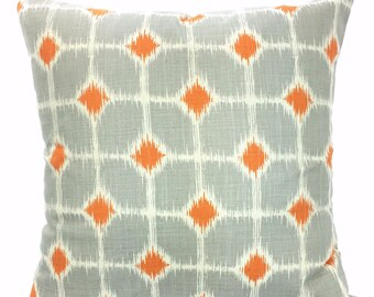 SALE Decorative Throw Pillow Covers, Orange Gray Natural Throw Pillows, Cushions, Couch Sofa Bed Pillows, Sofie, Throw Pillow, ALL SIZES