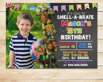 Teenage Mutant Ninja Turtle Invitation - Chalkboard Photo - Ninja Turtle Party - TMNT Invite Birthday - Boy Birthday Party - Photo Invite