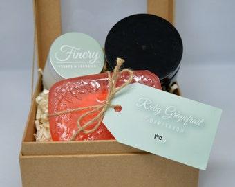 Vegan Ruby Grapefruit Shower Set **Ruby Grapefruit Soap, Sugar Scrub & Body Butter**