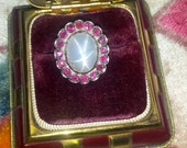 Vintage 1930s Star Sapphire with Ruby Surround set in 14k Gold Ring