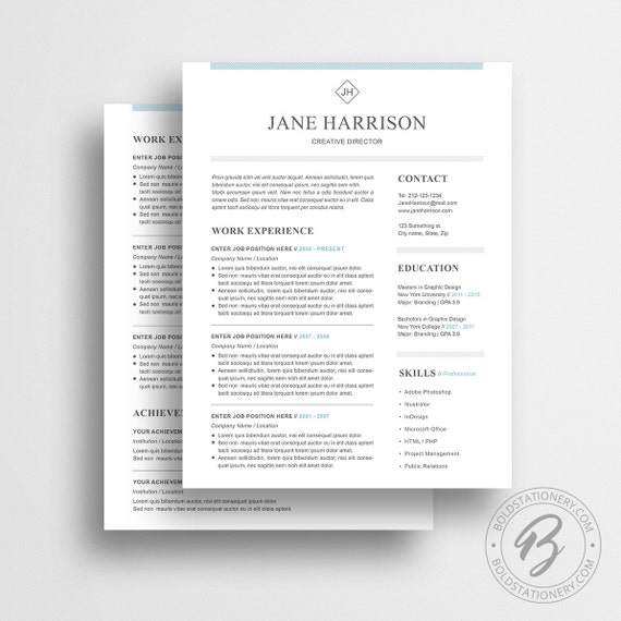 Resume Template 29 - Cover Letter Template - Word Resume Template - CV Template - Professional Resume Resume