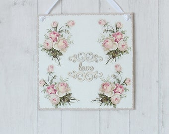 Shabby Chic Wall Decor, Wooden Wall Hanging, Bedroom Wall Decor, Wooden Plaque, Wall Decor, Wooden Sign, Pink Rose Plaque, Home Decor