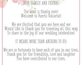 Destination Wedding Welcome Letter/ Itinerary