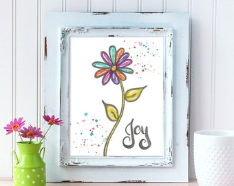 Joy Art Print. Watercolor Daisy Art Print. Home Decor. 8x10 Wall Art. Mother's Day Gift. Gift for Best Friend. Gift for Mom. Gift for Her.