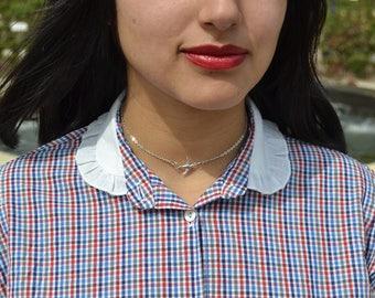 Silver Bird Choker Necklace. Silver Plated Chain. Sparrow Charm Choker.
