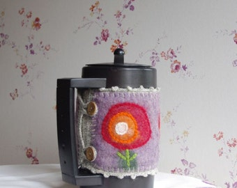 Felted French press cozy - French Press Coffee Pot Warmer -  wool coffee cozy - coffee pot cozy- felted coffe pot cozy - felted gift
