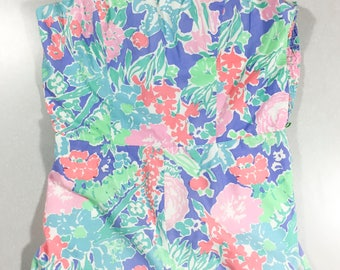 Vintage Floral Bathing Suit 1960s Romper Floral Play Suit 1960as Swimsuit Pastel Floral Romper One Piece Shorts Pin Up Rockabilly