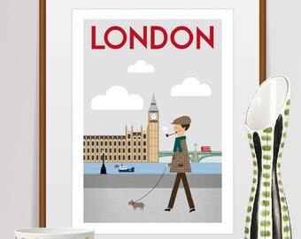 london print, london art, london poster, london, london wall art, london skyline, london decor, london gift, london art print, big ben print