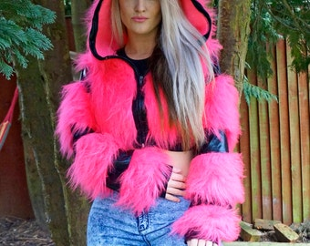 Funki-B faux fur fluffy cozy jacket hoody zip up crop top coat wetlook lycra print animal rave cyber dress up costume lot of colours