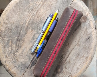Red zipper leather pencil case **Free shipping**