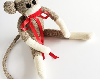 Extra Large Rockford Red Heel Sock Monkey-Sock Monkey-Original Sock Monkey-Traditional Sock Monkey-Brown Sock Monkey-Red Mouth Sock Monkey