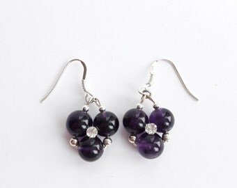 Amethyst Earrings Amethyst Dangle Earrings Gemstone Earrings Silver Gemstone Jewelry February Birthstone Earrings Silver Gift For Her